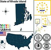 Map Of State Rhode Island Usa