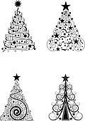 clip art schwarz wei weihnachten k22488257 suche. Black Bedroom Furniture Sets. Home Design Ideas