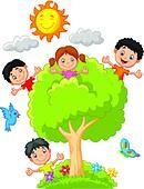 Kids Climbing Trees Clip Art