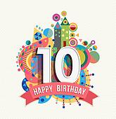 Clipart of Happy birthday card with 10th birthday k28641835 ...