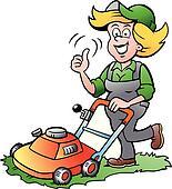 Clipart of gardener woman riding a lawnmower k30541952 for Tondre le gazon