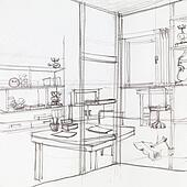Stock bild bushaltestelle und kiosk skizze k21465465 for Modernes haus gezeichnet