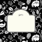 clipart noir calligraphie cadre tiquette vin vigne raisins k14238772 recherchez des. Black Bedroom Furniture Sets. Home Design Ideas