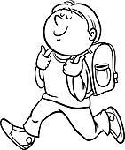Schule clipart schwarz weiß  Clipart - junge, grad, schueler, färbung, seite k20137154 - Suche ...
