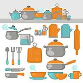 Kitchen Tools Drawings clipart of kitchen utensils on shelves, sketch drawing k21513653