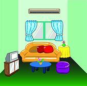 Clip Art   abbildung, von, a, wohnzimmer k21114866   Suche Clipart