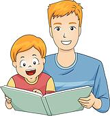 clip art of father reading a bedtime story to his daughter