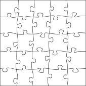 Clipart of Complete puzzle / jigsaw template (25 pieces ...