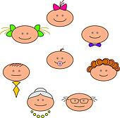 Clipart of Cheerful faces k5173054 - Search Clip Art, Illustration ...