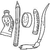Pinsel clipart schwarz weiß  Clipart - zeichnung, satz k5480322 - Suche Clip Art, Illustration ...
