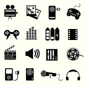 Clipart of Mass media icons k5915484 - Search Clip Art ...
