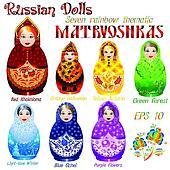 Russische dolls sieben regenbogen thematisch matryoshkas