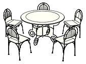 Stühle clipart  Clipart - satz, tisch, und, stühle k6302850 - Suche Clip Art ...
