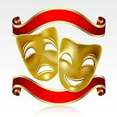 Clipart of Comedy and Tragedy Theater Masks k7800383 - Search Clip ...