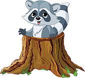 Raccoon in tree stump  Raccoon Clip Art