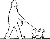 Clip Art of Man walking the dog k6551166 - Search Clipart ...