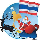 Clip Art of Merry Christmas Red Ball with Flag Thailand k11766919 ...