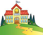 Clipart of vector country school house k8590181 - Search Clip Art ...