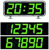 clipart vektor satz von digital gr n zahlen auf schwarzer hintergrund symbol von. Black Bedroom Furniture Sets. Home Design Ideas