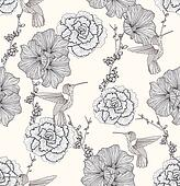 Cherry Blossom Seamless Flowers Pattern illustrations and clipart