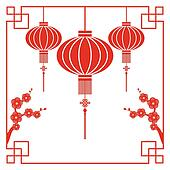 Clipart of Chinese New Year greeting card k8076524 ...