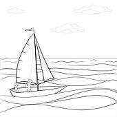 Segelboot zeichnung schwarz  Stock Illustration - segelboot, konturen k8107986 - Suche Clip Art ...