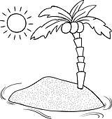 Strand clipart schwarz weiß  Clipart - einsame insel, karikatur, abbildung k20026932 - Suche ...