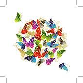Clipart sch n kunst schmetterling fliegen blumen for Blumen fliegen