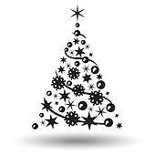 clipart schwarz wei karikatur vektor abbildung weihnachtsbaum mit weihnachten. Black Bedroom Furniture Sets. Home Design Ideas