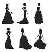 Groomsmen Silhouette Clip Art Bride silhouettes set