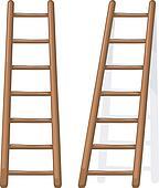 Clip art vector caricatura ilustraci n de un de for Escalera madera portatil