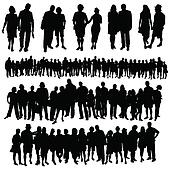 Clipart of couple and big group of people vector silhouette ...