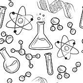 Clip Art of Science drawings on seamless pattern k10550758 ...