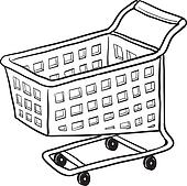 Clip art einkaufswagen vektor skizze k10380858 suche for Grocery cart coloring page