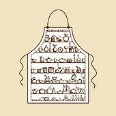 15 Kitchen Utensils Sketch : Kitchen apron Clip Art Illustrations. 831 kitchen apron clipart EPS ...