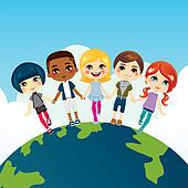 Clipart of earth multicultural children k10254811 - Search Clip ...