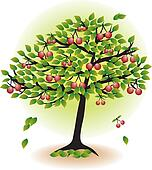 Clipart of Cherry tree in autumn k3240554 - Search Clip Art ...