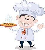 Clipart - koch, hält, a, heiße, pizza, kontur k9315265 - Suche ...   {Koch bei der arbeit clipart 83}
