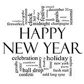 Happy New Years Clip Art Black And White Images & Pictures - Becuo