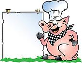 Drawn vector illustration of an chef pig making bbq stock vector - Chef Pig Standing And Pointing