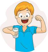Cartoon Bodybuilder Man Drinking Milk