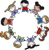 Kinderkreis clipart  Zeichnung - kreis, von, kinder, hände halten x18553443 - Suche ...