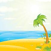 Clipart of Tropical Island Beach. Vector Illustration k12763604 ...