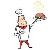 Clipart dessin anim chef cuistot poulet r ti k13040590 recherchez des clip arts des - Dessin de poulet roti ...