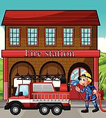 Nice A Fireman And A Fire Truck In Front Of The Fire Station Part 26