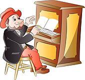 Clipart - mann, klavier spielen, abbildung k13361512 ...