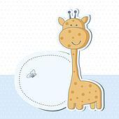 Baby Shower Giraffe Clip Art Baby boy shower card with cute