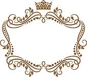 clipart of elegant royal frame with crown