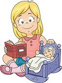 Little Kid Girl Playing with Baby Doll Playing With Dolls Clip Art