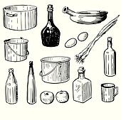 Kitchen Tools Drawings clip art of eating utensils sketch k10373918 - search clipart